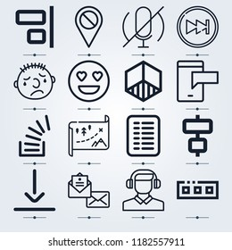 Set of 16 interface outline icons such as disable, envelope, list, headphones, microphone, align, bottom, overflowing, cube, maps, sms, toolbar, next