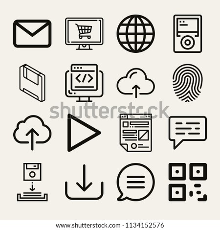 Set 16 Multimedia Outline Icons Such Stock Illustration 1134152576