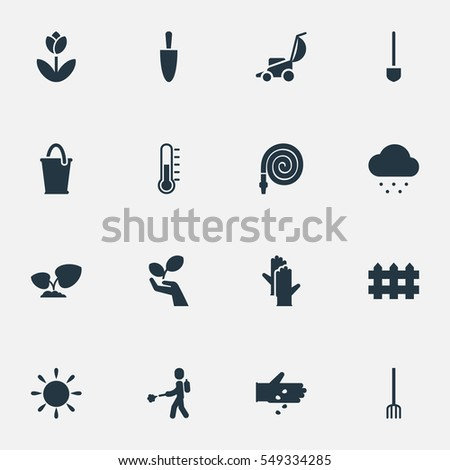 Set 16 Planting Icons Includes Symbols Stock Illustration 549334285
