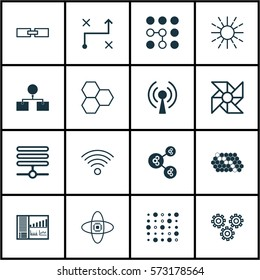 Set Of 16 Robotics Icons. Includes Variable Architecture, Information Components, Analysis Diagram And Other Symbols. Beautiful Design Elements.