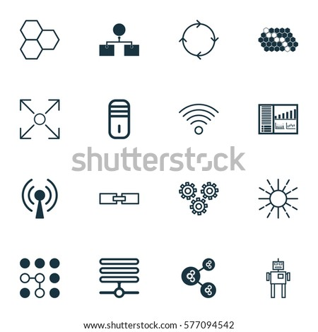 Set 16 Robotics Icons Includes Branching Stock Illustration