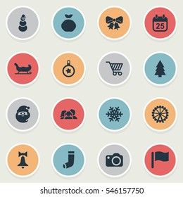 Set Of 16 Simple Christmas Icons. Can Be Found Such Elements As Pin, Forest, Christmas Character And Other.