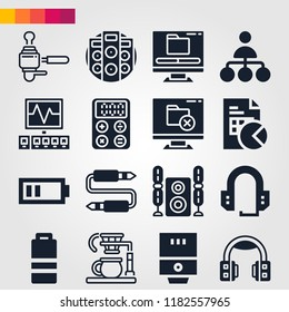 Set of 16 technology filled icons such as half battery, half battery, calculator, water heater, coffee maker, stats, speakers, audio jack, headphones, headset, support