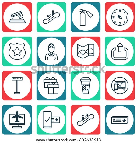 Set 16 Transportation Icons Includes Airport Stock Illustration