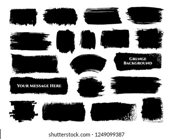 Set of 19 different black ink brush strokes rectangular and square shapes for decor of banners, frames, inscriptions, logos in grunge design