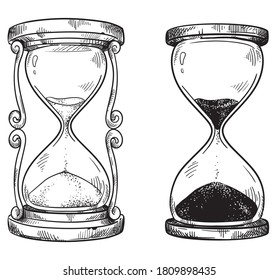 Set of 2 vintagesand  hourglasses line black and white drawing