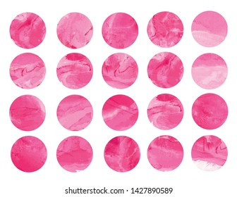 Set of 20 watercolor circles for background. Watercolor texture, drops, drips and splashes. Isolated on white background