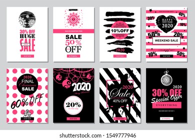 Set of 2020 Happy New Year Sale Banners Templates for on-line shopping with black, white, pink colors. Trendy flat style with hand-lettering words.