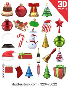 A set of 25 Christmas Objects - 3D Renders: gifts, candy cane, bells, snowman, sign and other ornaments.