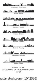 Set of 27 skylines of the capital cities of the european union - set 01