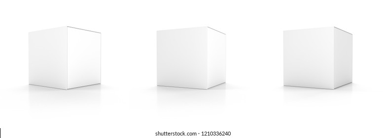 Set of 3 Blank Package Box. Mockup Isolated on white. 3d illustration