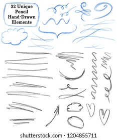 Set of 32 Unique pencil drawing elements: flourish, strokes, lines, arrows, signs, text areas, frameworks
