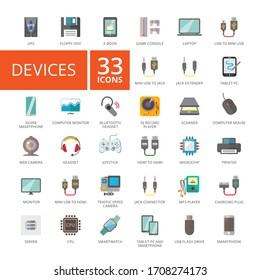 Set of 33 flat icons representing various electronic devices and gadgets