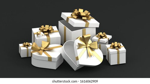 Set of 3d colorful gift boxes with bows and ribbons. 3d rendered valentine heart gift box. Presents and surprise boxes.