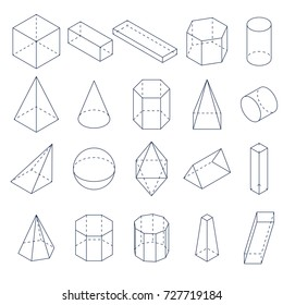 Set of 3D geometric shapes. Isometric views. The science of geometry and math. Linear objects isolated on white background. Outline illustration.