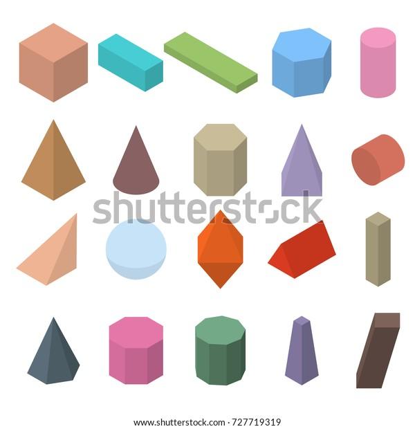 Set 3d Geometric Shapes Isometric Views Stock Illustration
