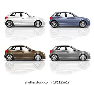 Set of 3D Hatchback Car.