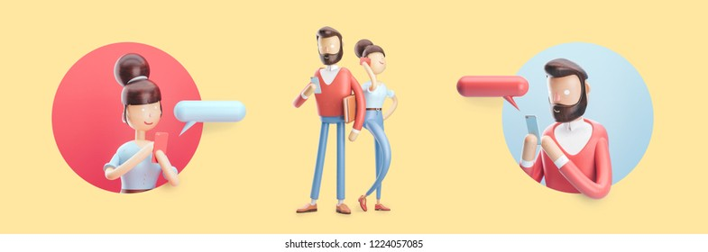 Set of 3d illustration. cartoon character is sending a message from his phone.