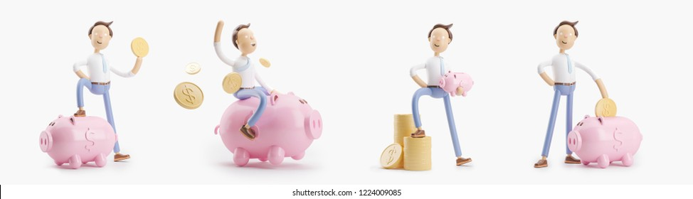 set of 3d illustrations. cartoon character with coin and money box pig.