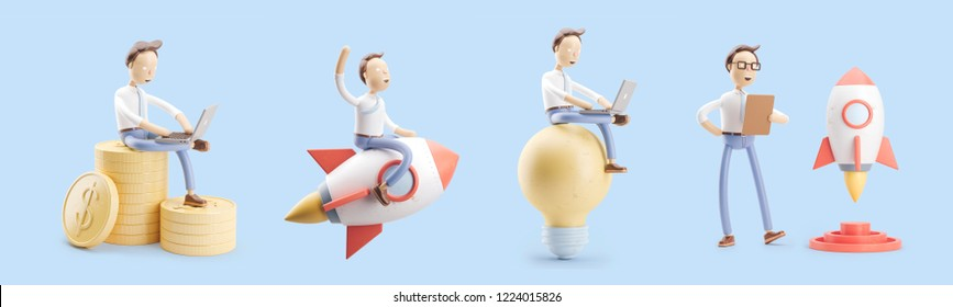 set of 3d illustrations. cartoon character flies on a rocket into space. concept of creativity ind startup.