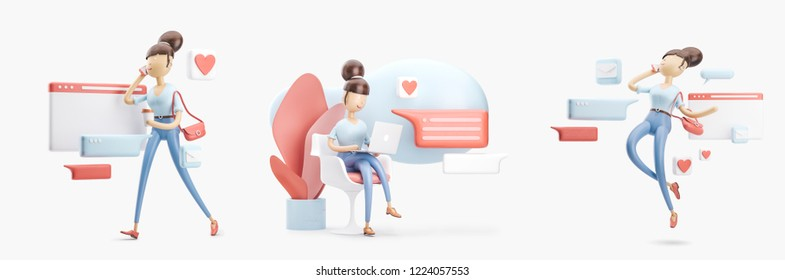 Set of 3d illustrations. cartoon character sitting on a bubble talk. social media concept.