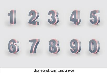 Set of 3D Numbers, Iron texture, Red Neon Light. 3D Rendering