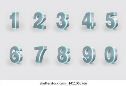 Set of 3D Numbers, Metal Material, Blue Neon Light. 3D Rendering