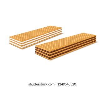 set of 3d realistic rectangular crispy wafers with chocolate and milk filling isolated on white background. Waffles filled with vanilla creme, cacao. Confectionery, snack, crunchy dessert.