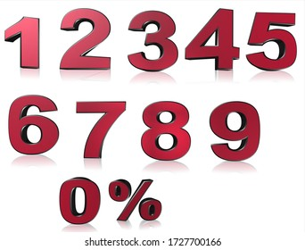 Set of 3D red numbers sign. 3D number symbol with percent discount design.