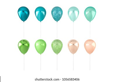 Set of 3D render blue, green and golden balloons isolated on white background. Trendy realistic design 3d elements in pastel colors for birthday, presentation, promo, party or other events.