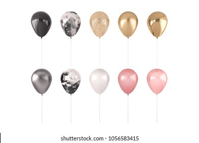 Set of 3D render pink, marble and golden balloons isolated on white background. Trendy realistic design 3d elements in pastel colors for birthday, presentation, promo, party or other events.