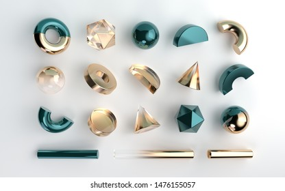 Set of 3d render realistic geometric figures isolated on white background. Spheres, torus, tubes, hexagons and other shapes in metallic gold and green  glass colors for abstract design compositions.