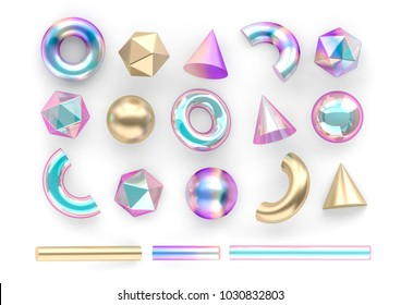 Set of 3d render realistic primitives on white background. Isolated graphic  elements. Spheres, torus, tubes, cones and other geometric shapes in gold, holographic glass colors for trendy designs.