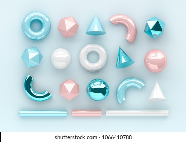 Set of 3d render realistic primitives on blue background. Isolated graphic elements. Spheres, torus, tubes, cones and other geometric shapes in blue metallic and white colors for trendy designs.