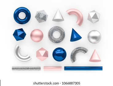 Set of 3d render realistic primitives on white background. Isolated graphic elements. Spheres, torus, tubes, cones and other geometric shapes in rose gold metallic and blue colors for trendy designs.