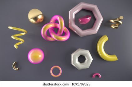 Set of 3d render realistic primitives on white background.  Spheres, torus, tubes, cones and other geometric shapes in gold, holographic glass colors for trendy designs.
