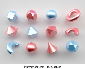 Set of 3d render realistic primitives on white background. Isolated graphic elements. Spheres, torus, tubes, cones and other geometric shapes in rose, blue metallic colors for trendy designs.