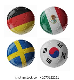 Set of 3d soccer balls with flags. 2018. Group F