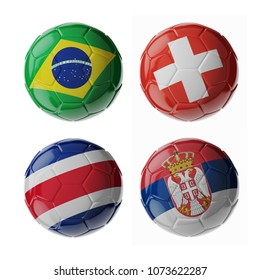 Set of 3d soccer balls with flags. 2018. Group E