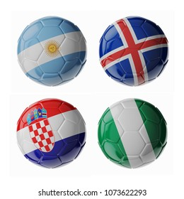 Set of 3d soccer balls with flags. 2018. Group D