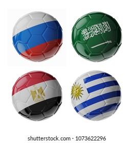 Set of 3d soccer balls with flags. 2018. Group A