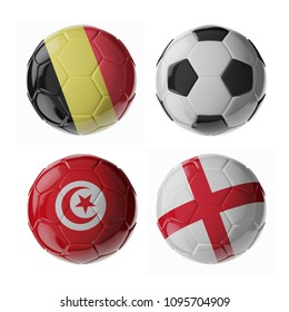 Set of 3d soccer balls with flags. 2018. Group G