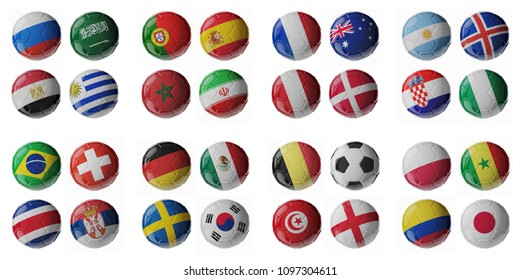 Set of 3d soccer balls with flags. 2018