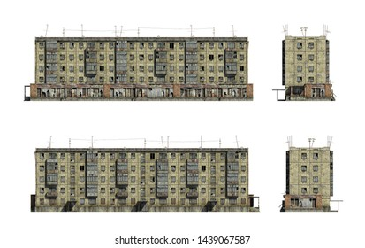Set of 3d-renders of abandoned Soviet 5-storey panel house. Set of 3d-renders
