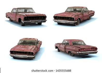 Set of 3d-renders of odl rusty muscle car on white background