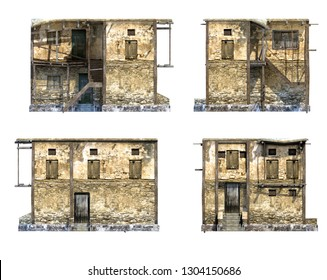 Set of 3d-renders of old afghan house
