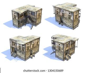 Set of 3d-renders of old afghan house