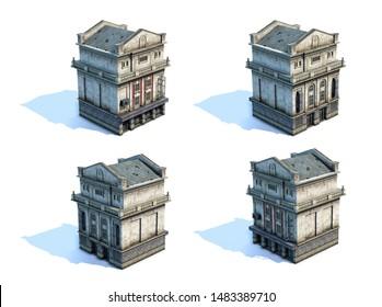 Set of 3d-renders of old house