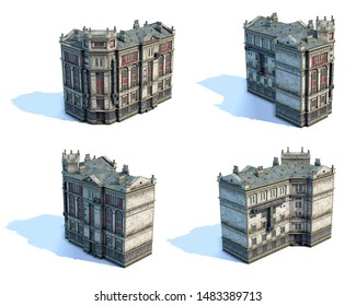 Set of 3d-renders of old house