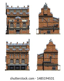 Set of 3d-renders of old industrial building